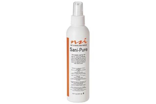"""<p>Sani-Pure by <strong>NSI</strong> is a fast-acting antiseptic spray for implements, work areas, and hands. It has a clean, citrus scent. It&rsquo;s available in 2-fl.-oz. and 8-fl.-oz. spray bottles and in a 32-fl.-oz. refill bottle. For work areas and implements, after spraying liberally, allow Sani-Pure to air dry for 10 minutes.<a href=""""http://www.nsinails.com""""> www.nsinails.com</a></p>"""