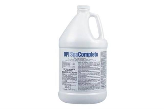 """<p><strong>OPI</strong> Spa Complete is a concentrated one-step hospital-grade disinfectant cleaner for non-porous salon implements, hard surfaces, and pedicure spas and tubs. It cleans, degreases, and disinfects spa tubs in just 10 minutes, all while leaving behind a pleasant fragrance. Spa Complete contains a built-in chelator to dissolve hard water mineral deposits.<a href=""""http://www.opi.com""""> www.opi.com</a></p>"""