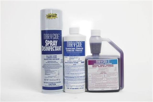 """<p><strong>William Marvy Company&rsquo;s </strong>Mar-V-Cide Disinfectant boasts a concentrated anti-rust formula that kills HIV-1 and athlete&rsquo;s foot. Mar-V-Cide Spray Disinfectant disinfects spa chairs and other hard surfaces and is effective against MRSA. Mar-V-Cide II Germicidal Cleaner provides broad-spectrum protection (tuberculocidal, pseudomonacidal, fungicidal, staphylocidal, virucidal, and it kills HIV-1), plus it controls mold and mildew. Also available is the Mar-V-Cide Pedicure Spa Disinfectant Kit, which includes a gallon of disinfectant, a measure, instructions in Vietnamese and English, Marvy De-Foamer, and a Marvy Sanitizing Systems Decal.<a href=""""http://www.wmmarvyco.com""""> www.wmmarvyco.com</a></p>"""