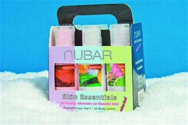 "<p><a href=""http://www.nailsmag.com/fifi/80193"">Nubar's</a> Skin Essential Lotions are packaged into a six-pack of 2-oz. bottles to make a perfect stocking stuffer. The aromatherapy hydrating lotions come in six formulas: Island Breeze, Hypnotic, Vanilla Passion, Delicious Pear, Pomegranate Delight, and Euphoria.</p>"