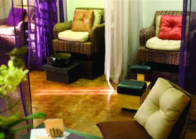 At Cure, A Nail Spa in Emeryville, Calif., oversized, comfortable wicker chairs with down pillows are used for pedicures, and the feet soak in lacquered bamboo bowls.