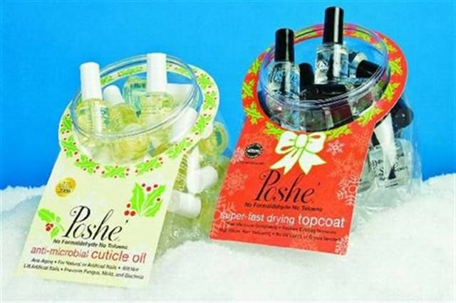"<p><a href=""http://www.nailsmag.com/fifi/80199"">Poshe's</a> Holiday Fishbowls contain mini-sized bottles of anti-microbial cuticle oil and fast drying top coats, and make for great holiday gifts. Each bowl contains 24 bottles, and both the oil and top coat are formaldehyde and toluene free.  </p>"