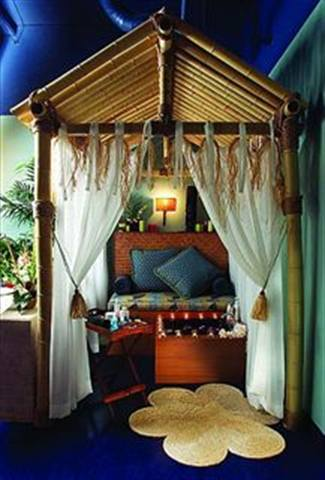 At Spa Tiki in San Diego, pedicure clients enjoy their services in specially designed pedi-cabanas.