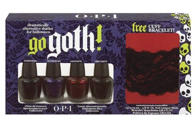 """<p><strong>OPI&rsquo;s</strong> Go Goth! Collection is a must-have for Halloween. Four seductive polishes in vampy shades are sure to give hands and feet a dramatic look. Colors include Obscurity, Sanguine, Unripened, and Nevermore. <br /><br /><a href=""""http://www.opi.com"""">www.opi.com</a></p>"""
