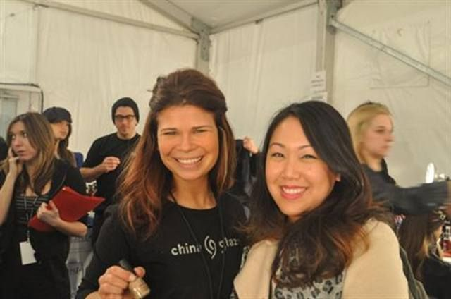 <p>China Glaze lead manicurist Julie Kandalec (left) posed with Irene Chao, who works in the advertising and PR department of AII, China Glaze&rsquo;s parent company. <em>(Photography by Jason Kandalec)</em></p>