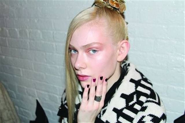 <p>For the Toni Maticevski show, Zoya Nail Polish in Casey was used for the warmer-toned models and Sloane for the cooler-toned models. Zoya Richelle and Nova UltraGlitter went on ring fingers as accent colors. <em>(Photography by Anna Thiessen)</em></p>