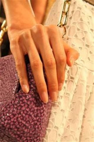<p>Manicurist Jackie Saulsbery applied Zoya polishes in Erin and Tasha as the perfect nude shades for the Tory Burch presentation.</p>