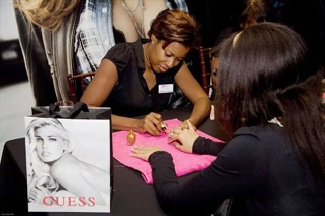 <p>Manicurist and Nail Taxi mobile salon owner Cinnamon Bowser did manicures using Zoya polishes at Guess&rsquo; Fashion&rsquo;s Night Out during New York Fashion Week.</p>