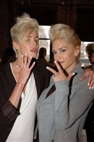 <p>Gwen Stefani (right) and model Milena pose at the L.A.M.B. Fashion Show, where the manicures were done using Dashing Diva NYC Fleet Week, a solid white.</p> <p><em>Photography by Ann Lawlor</em></p>
