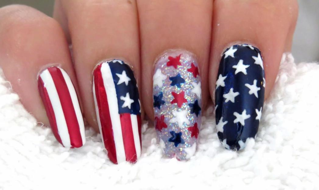 American Flag 4th of July Nail Art
