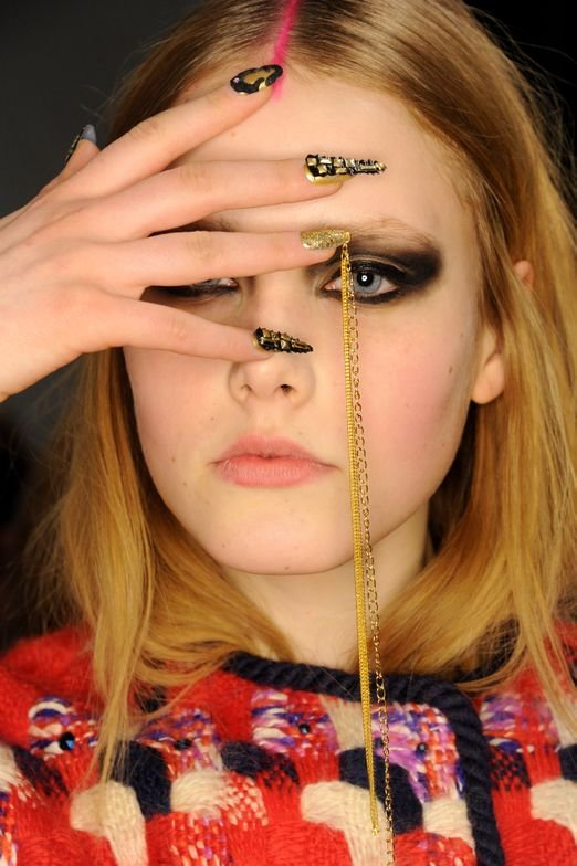 <p>References to mythology and Indian culture were made at the Libertine runway show. The nails by CND also captured this inspiration.</p>