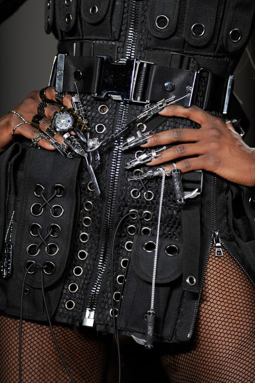 <p>The dystopian theme of The Blonds' clothing was accurately refelected in the extensive nail work by CND.</p>