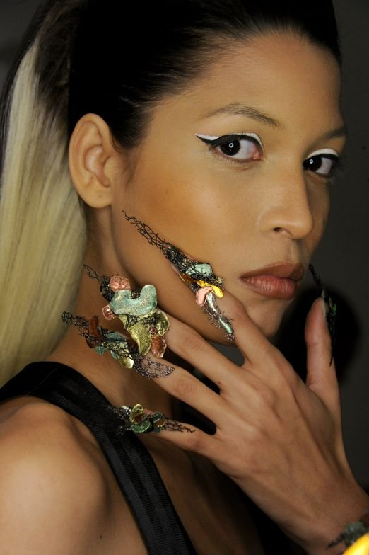 <p>CND's fall trend story about grit meets glam came to life in the nails they did for The Blonds fall/winter show.</p>