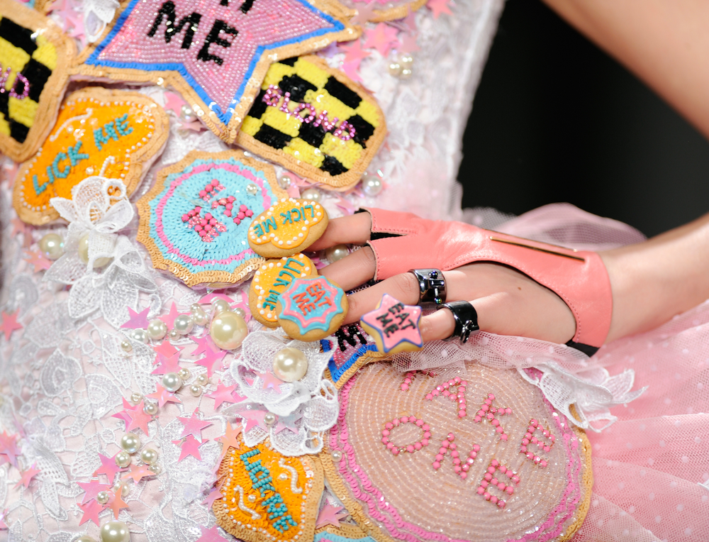 <p>Cookies were placed on nails for CND at the Blonds</p>