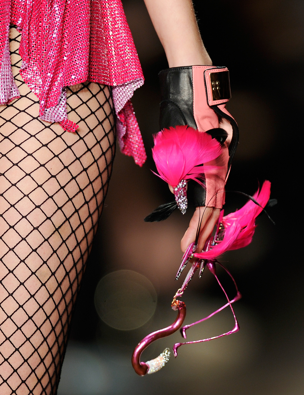 <p>Flamingo nails by Torie Bastian for the Blonds</p>