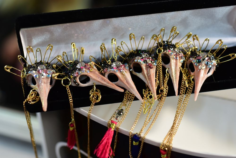 <p>Pave Swarovski crystals adorned one of the show's most intricate nail looks: hand-sculpted bird skulls. Getty for CND.</p>