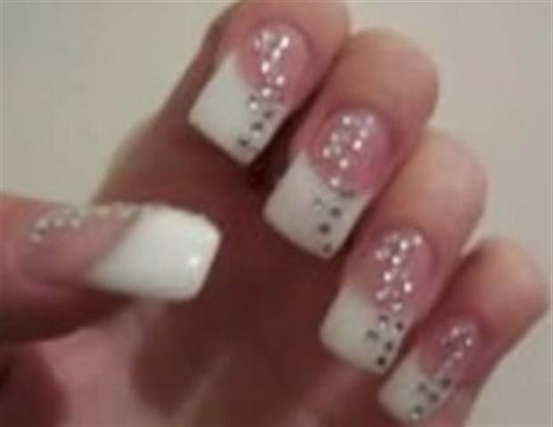 French Gel Bling Nails