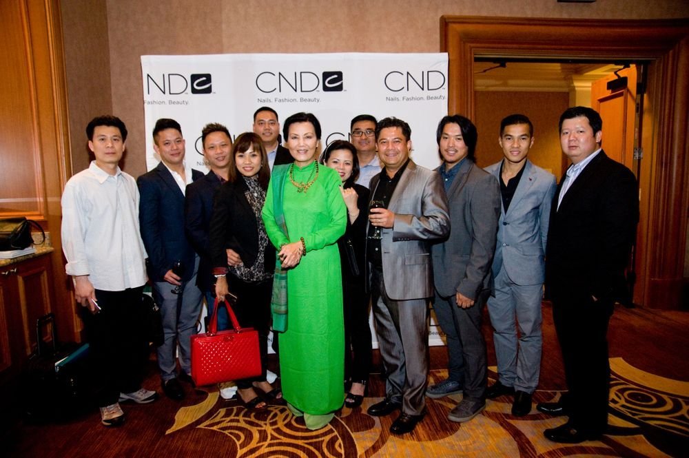 <p>Vietnamese-American actress, Kieu Chinh, poses with CND&rsquo;s loyal Vietnamese-American distributors from across the U.S. who have donated to the BCL | CND | Tippi Hedren Nail Scholarship Fund. <em>Image courtesy of CND.</em></p>