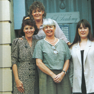 Maggie Schmiedte (top row) outside the Australian Nail Academy with (bottom row, left to right)...
