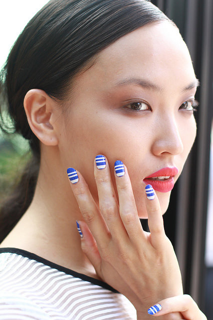 """<p><span style=""""font-family: 'Arial','sans-serif';"""">Yee describes her spring 2015 collection as&nbsp;&ldquo;a story of textures and architectural lines structured for the effortless chic girl.&rdquo; She custom designed Inni nail wraps for models with this vision in mind.&nbsp;</span>Photo courtesy of Inni.&nbsp;</p>"""