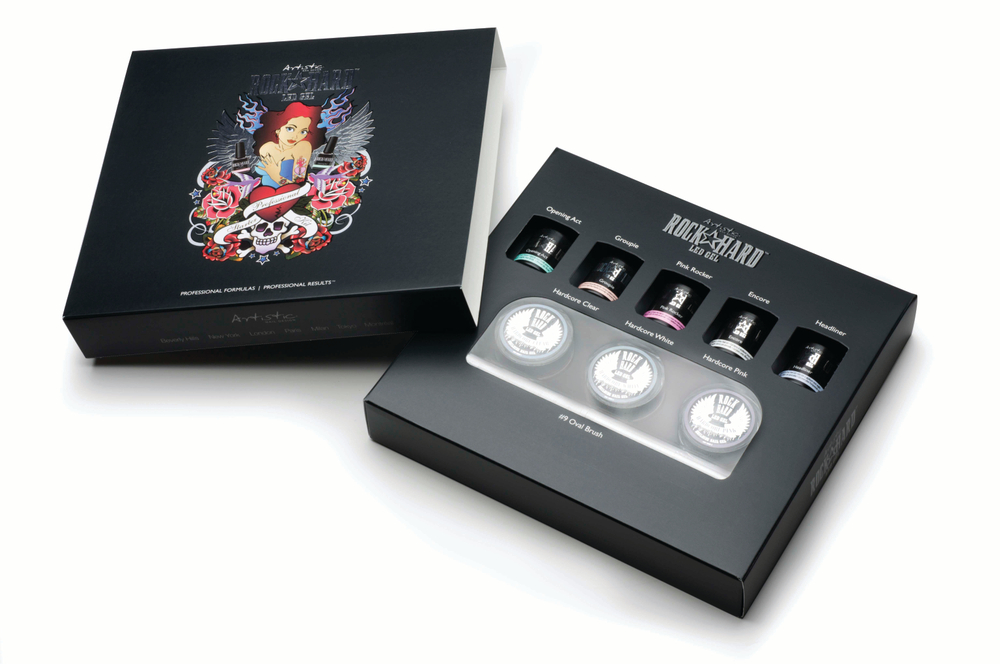 """<p>The <a href=""""http://www.artisticnaildesign.com/"""">Artistic</a> Rock Hard LED Gel Starter Kit contains primer, brush-on white, clear, natural pink, and bright pink gel, building gels (in white, pink, and clear), nail forms, and an oval brush. Integrated technology creates nails that are strong and flexible. This hard gel is anything but traditional, curing in 5-30 seconds.</p>"""