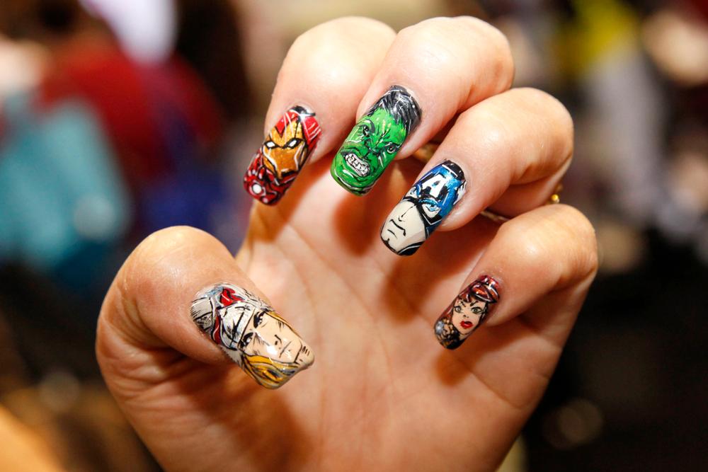 <p>Avengers Nails by Rena Rivera Ryan, Beauty Paradise, Jacksonville, Fla.</p>