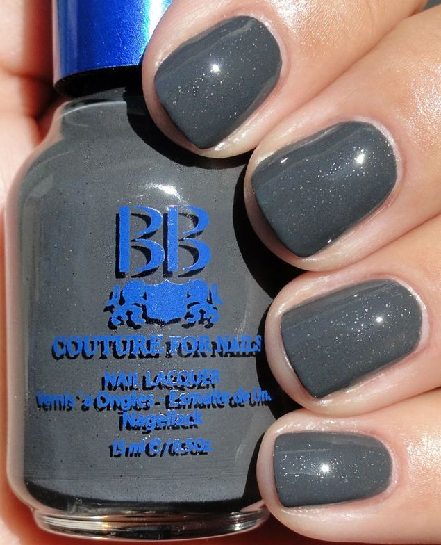 <p><strong>BB Couture for Nails</strong> nail lacquer in Briquette is a dark grey.</p>