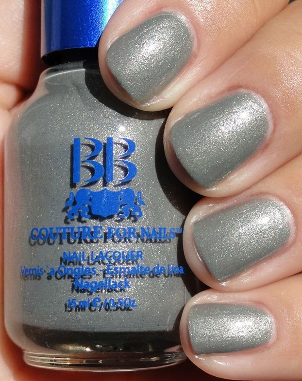 <p><strong>BB Couture for Nails</strong> nail lacquer in Grey Matter is a glittery silver.</p>
