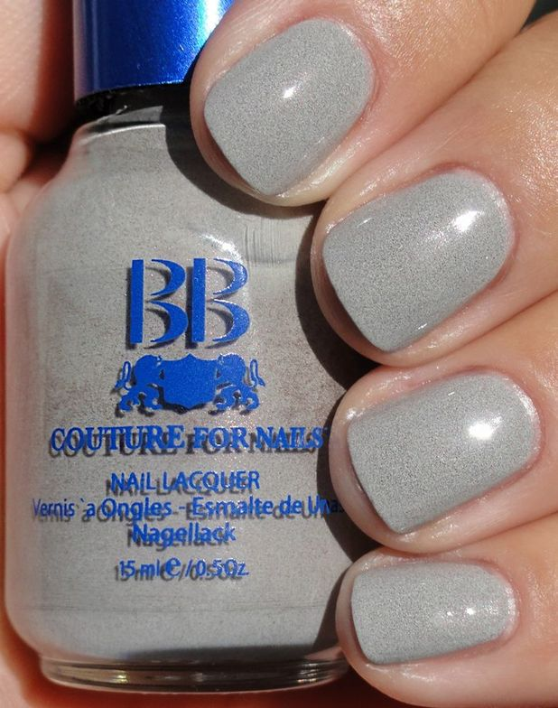<p><strong>BB Couture for Nails</strong> nail lacquer in Smoke is a pale concrete grey with stone flecks.</p>