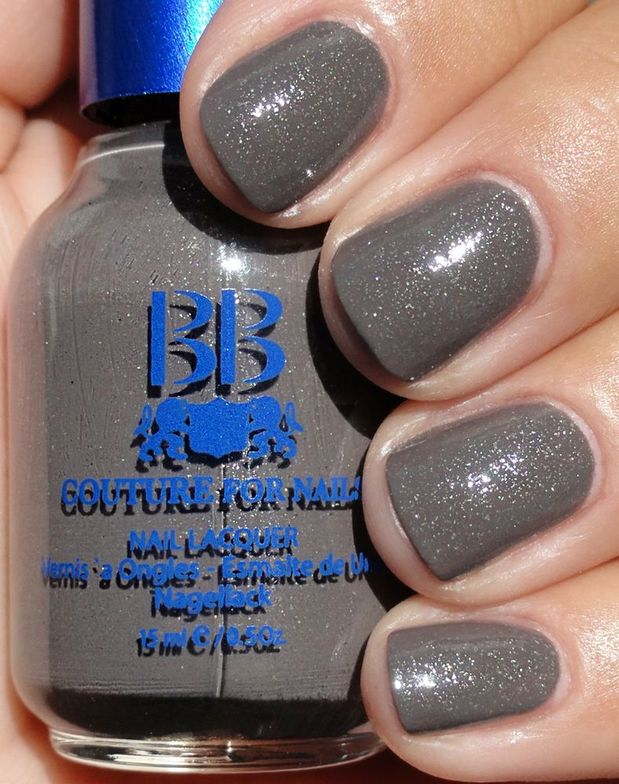 <p><strong>BB Couture for Nails</strong> nail lacquer in Starry Starry Taupe is a glittery mushroom grey.</p>