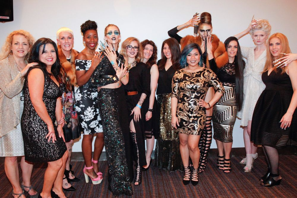 <p>NAILS editor Erika Kotite, CND's Jan Arnold, former NextGen artist and NTNA s2 winner Lavette Cephus, NAILS' Beth Livesay, and CND mentors&nbsp;Torie Bastian, Angelina Wingle, and Kristina Saindon with the Top 3 finalists and their models</p>