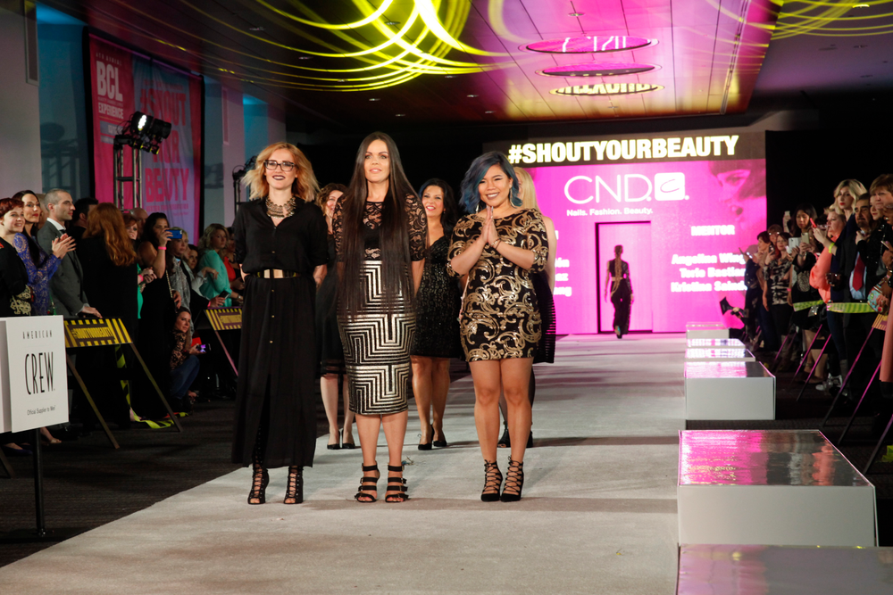 <p>NTNA Top 3 and NexGen artists Celina Ryd&eacute;n, Sarah Elmaz, and Winnie Huang with CND mentors Angelina Wingle, Kristina Saindon, and Torie Bastian in support.</p>
