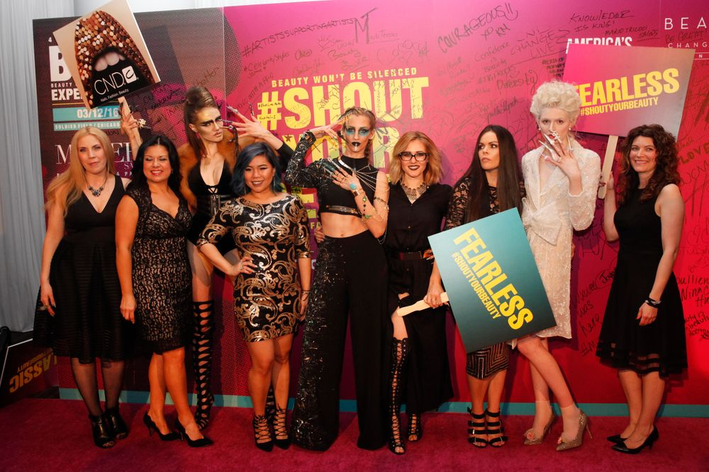 <p>CND mentors Torie Bastian, Angelina Wingle, and Kristina Saindon (far right) along with the NTNA Top 3/NextGen artists</p>