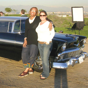 Maisie and NAILS executive editor Hannah Lee chill out by the classic 1956Chevy BelAir used for...