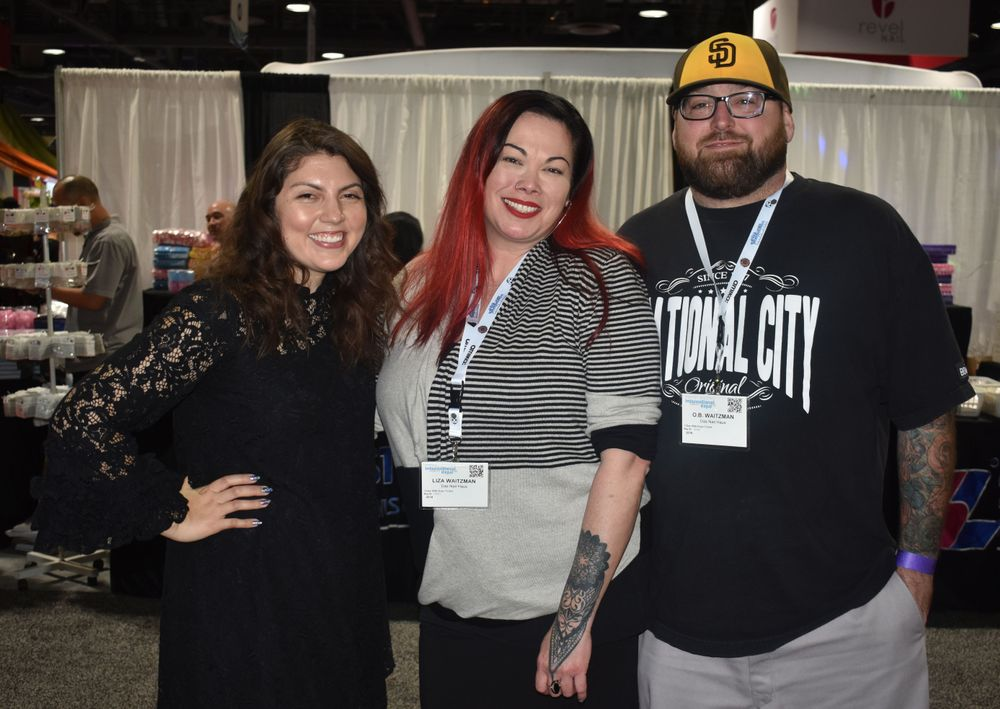 "<p>Executive Editor Beth Livesay and NTNA competitor Liza Waitzman (<a href=""https://www.instagram.com/dasnailhaus/"">@dasnailhaus</a>) and her husband</p>"
