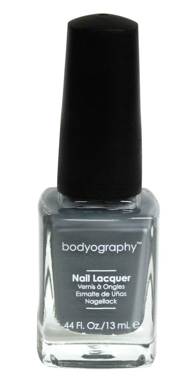 <p><strong>Bodyography</strong> <strong>Professional Cosmetics</strong> Nail Lacquer in Happy Go Lucky is a dark stone grey that dries to a creamy, glossy finish.</p>