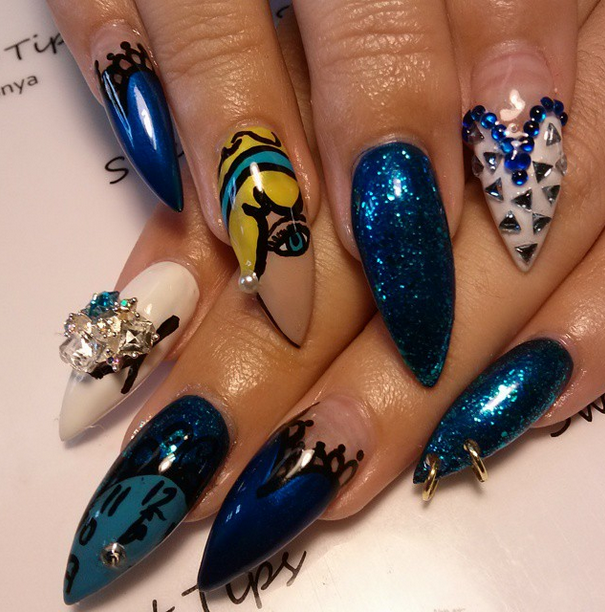 <p>Honorable mention for flat art in Gelish &amp; Morgan Taylor's Mani at Midnight Contest: LaTonya Brown, Azia B Salon, Raleigh, N.C. @sweetsdaartist</p>