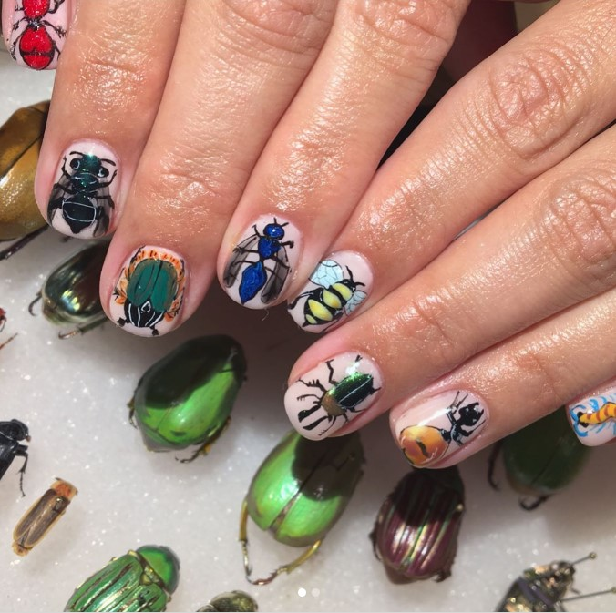 Handpainted Insect Nail Art