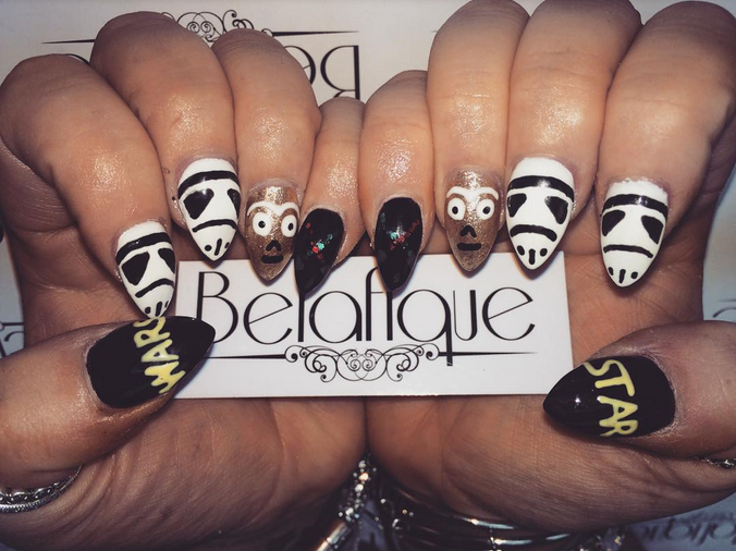 """<p>C3PO and Stormtrooper nails by <a href=""""https://instagram.com/belafique"""">Linda Martin, <span id=""""react-root""""><span data-reactid="""".0.1.0.0:0.1.1.2""""><span data-reactid="""".0.1.0.0:0.1.1.2.$text0:0:$end:0"""">Beautifully Unique by Belafique</span></span></span></a></p>"""