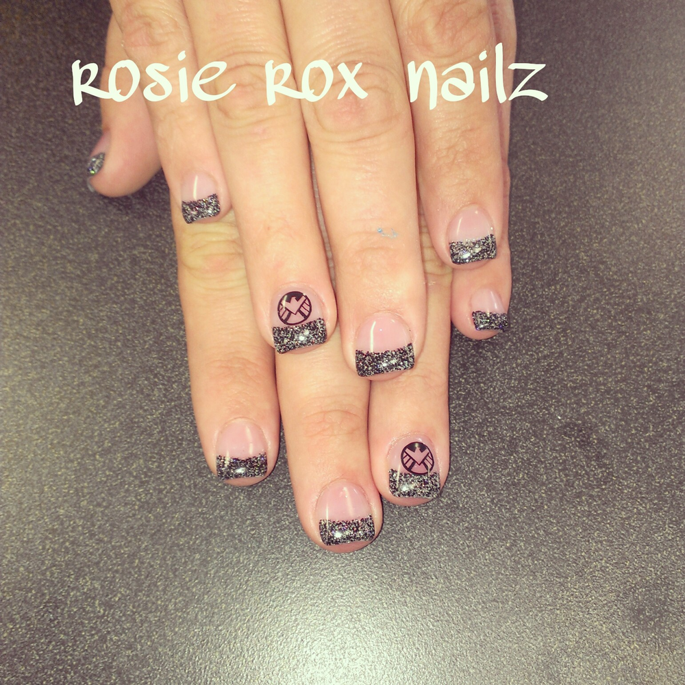 <p>Agents of Shield nails by Rosie Callis, Glendale, Ariz.</p>