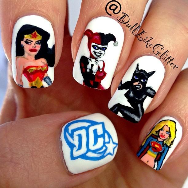 "<p>Wonder Woman, Harley Quinn, Catwoman, Batgirl nails by<a href=""http://www.dulllikeglitter.com/""> Casey Danton</a>, New York City</p>"