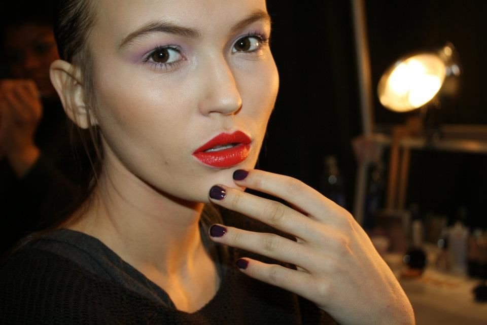 <p>At the Charlotte Ronson show, <strong>Color Club</strong> polished nails in Potent Purple with a black called Where&rsquo;s the Soiree.</p>