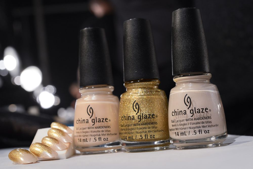 <p>China Glaze Heaven, Mingle With Kringle, and Don't Honk Your Thorn, the colors used at Michael Costello's show.&nbsp;Photo courtesy of Matthew Carasella/SocialShutterbug.com.&nbsp;</p>