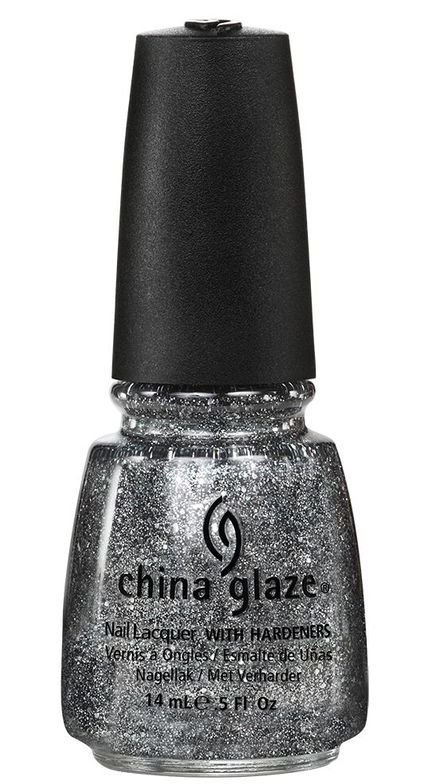 <p><strong>China Glaze</strong> Tinsel Town is a bold silver and metallic grey glitter.</p>