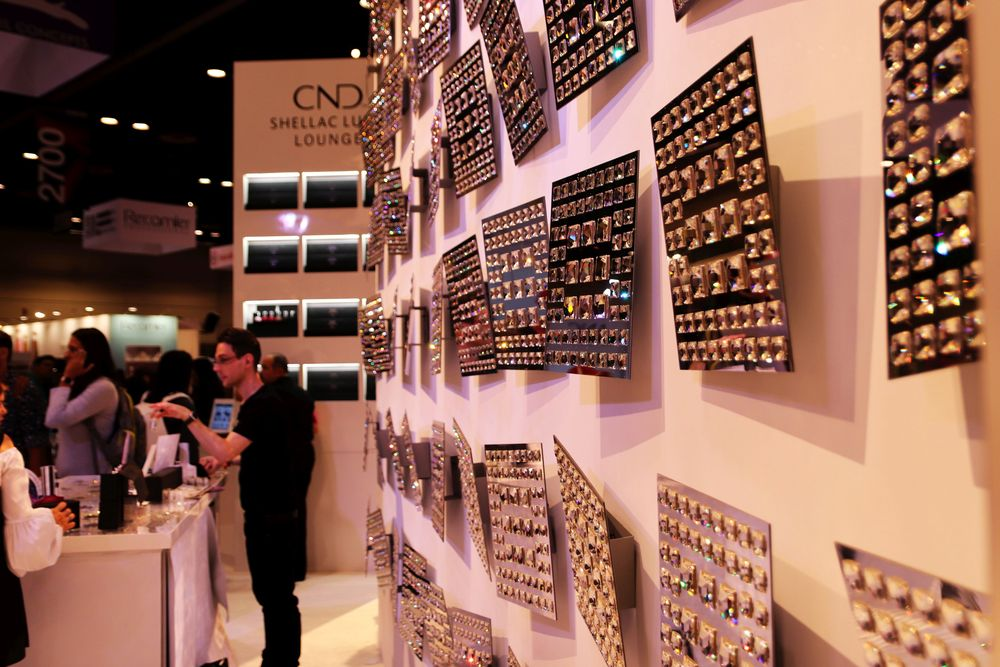 <p>THE CND Booth had lots of crystals</p>