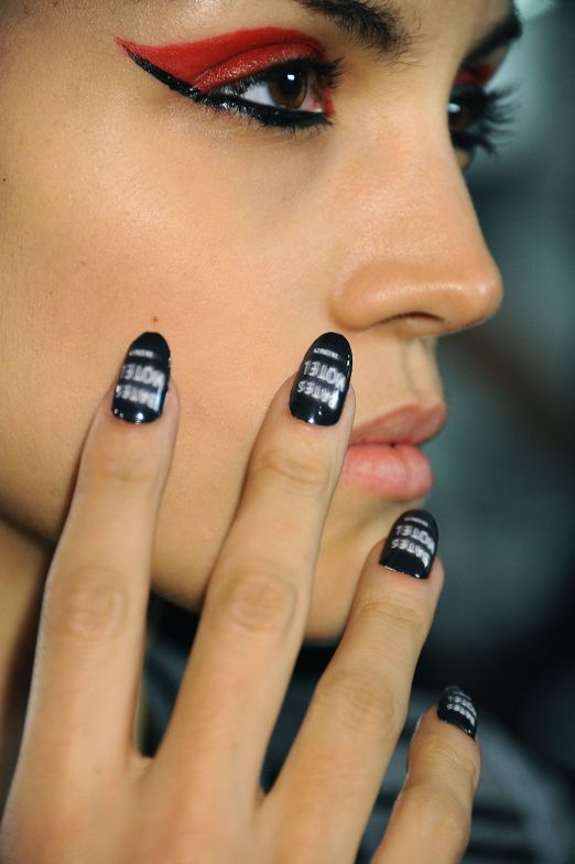 <p>NAIL ART: CND created 22 unique works of art that represent iconic horror films like Psycho (shown), The Birds, and The Shining for The Blonds.</p>