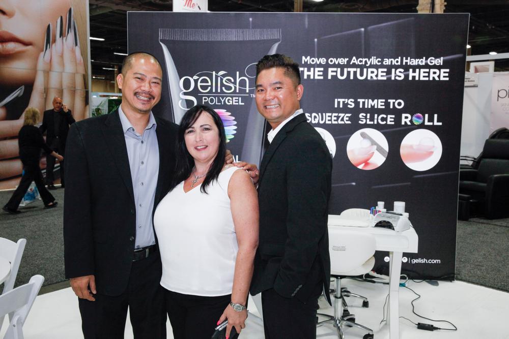 <p>Gelish's Vu Nguyen, Gari-Dawn Tingler, and Danny Phung</p>