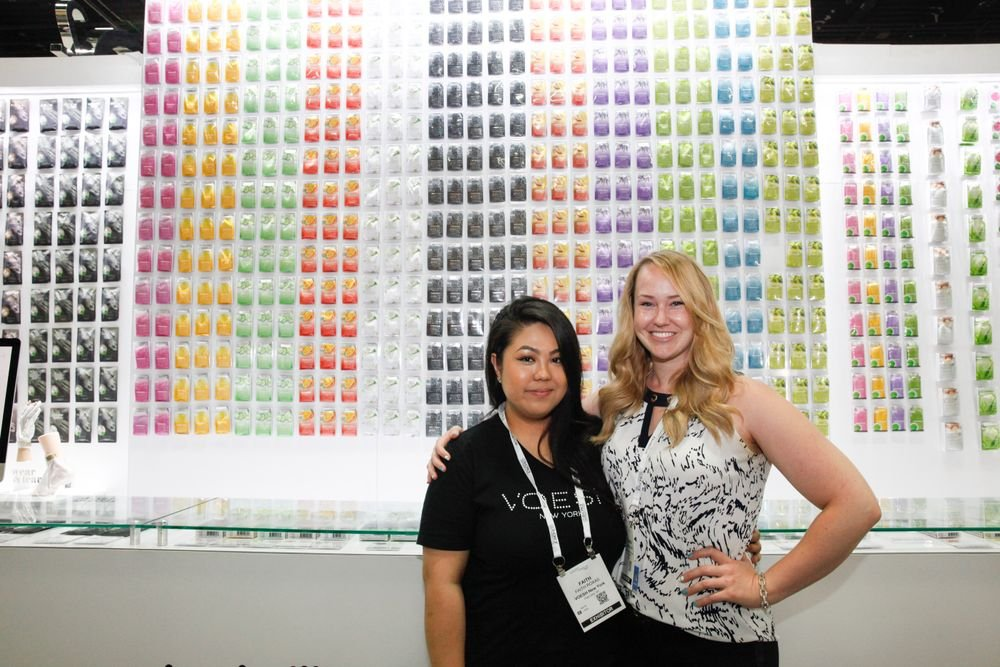 <p>Voesh NY's Faith Roxas with NAILS sales rep Shannon Rahn</p>