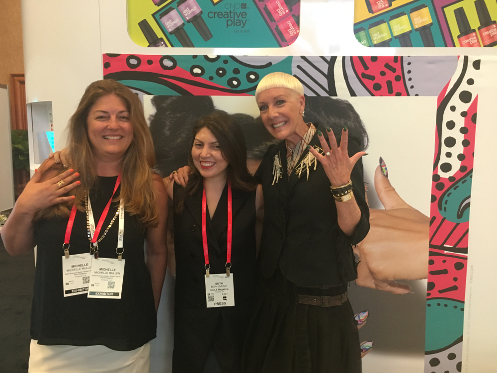 <p>NAILS' publisher Michelle Mullen, executive editor Beth Livesay, and CND's Jan Arnold talked the new Creative Play gel-polish</p>