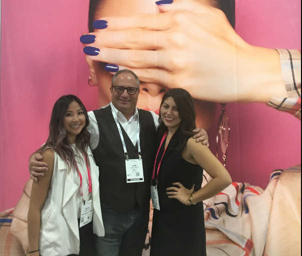 <p>NAILS' Becky May (left) and Beth Livesay (right) caught up with Orly's John Galea about the new Breathable collections. </p>